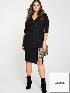 V by Very Curve Rib Button Through Dress - Black cf4f9c51e1ea