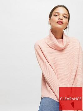 miss-selfridge-petite-funnel-neck-step-hem-jumper-pink