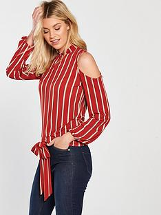 v-by-very-cold-shoulder-stripe-top-red