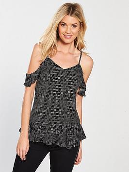 v-by-very-cold-shoulder-polka-dot-top-black