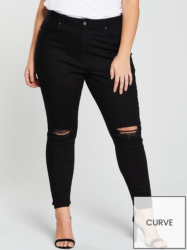 new products bright in luster where to buy Ripped Knee Skinny Jeans - Black