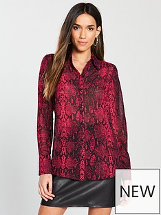 v-by-very-red-snake-print-blouse-printed