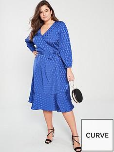 457769c7d47 V by Very Curve Jacquard Satin Wrap Dress - Blue