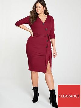 v-by-very-curve-rib-button-through-dress-red