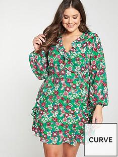 v-by-very-curve-ruffle-wrap-long-sleeve-tea-dress-green-print