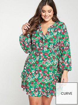 v-by-very-curve-ruffle-wrap-long-sleeve-tea-dress-green-print