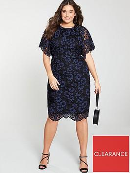 v-by-very-curve-lace-angel-sleeve-dress-blue-black