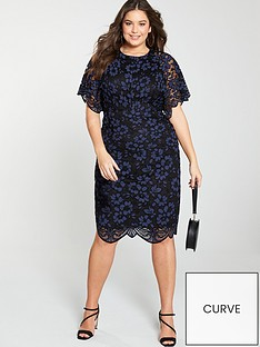 3c14aba06d V by Very Curve Lace Angel Sleeve Dress