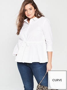 c902086472f08 V by Very Curve Tie Waist Cotton Shirt - White