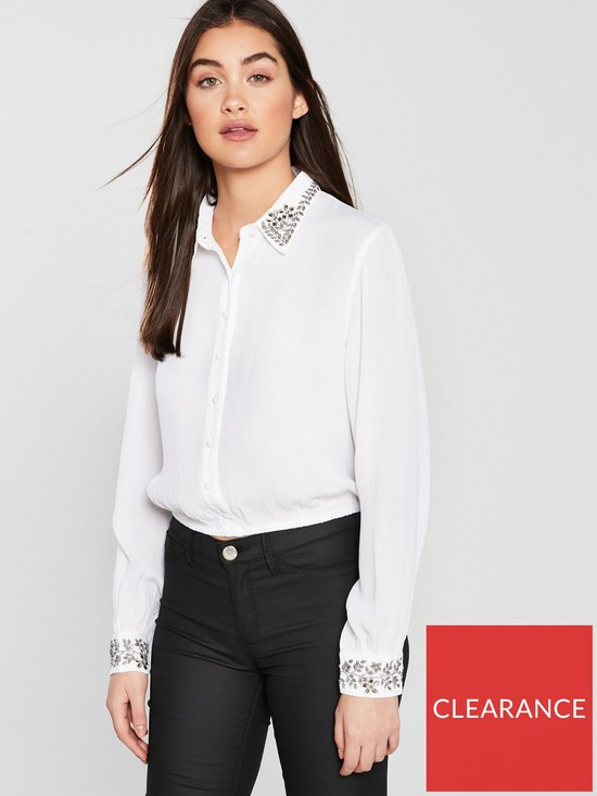 606781cf507 Miss Selfridge Embellished Collar Shirt