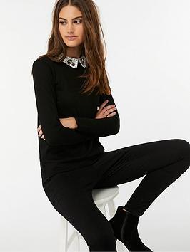 Monsoon Gigi Gem Embellished Woven Collar Jumper - Black