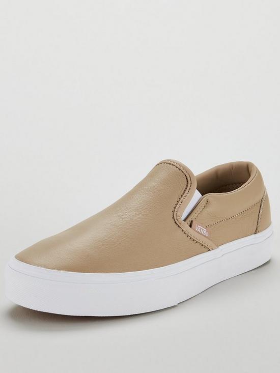 584eefd69f Vans UA Classic Leather Slip-On - Beige White