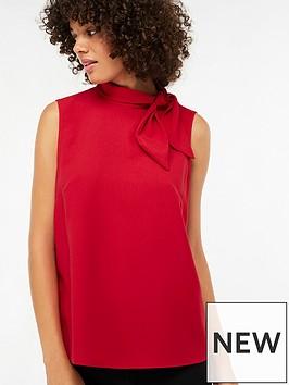 monsoon-tori-tie-neck-sleeveless-blouse-rednbsp