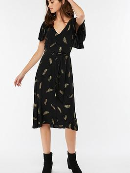 Monsoon Fira Feather Print Midi Dress - Black