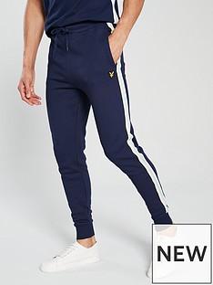 lyle-scott-side-stripe-skinny-sweatpants-navy