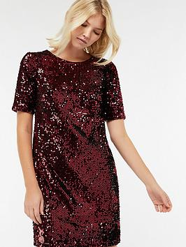 monsoon-stacey-sequin-shift-dress-rednbsp