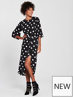 ax-paris-tie-front-polka-dot-dress-blacknbsp