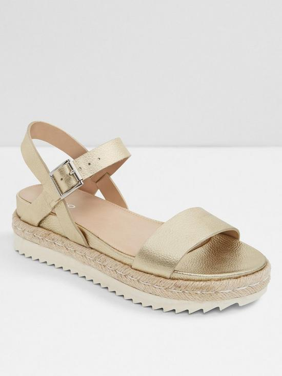 ddcd56f0ea20 Aldo Thialle Weaved Flat Platform Sandals - Gold