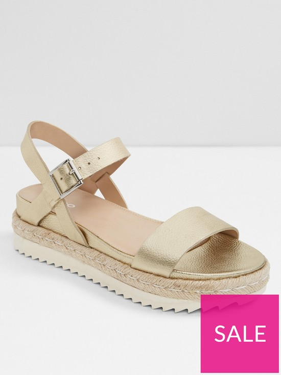 90ad56ba02 Aldo Thialle Weaved Flat Platform Sandals - Gold | very.co.uk