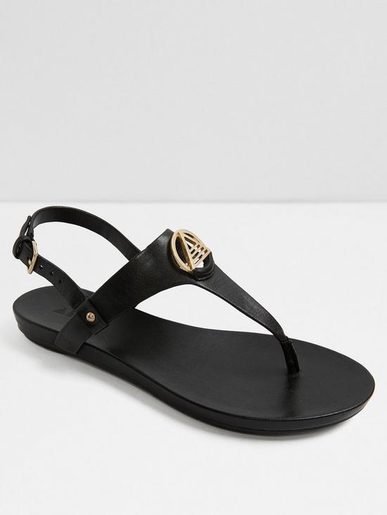 Aldo Larenalia Studded T-strap Flat Sandals - Black
