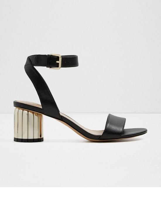 Aldo Debrylla Two Piece Sandal Metal Heeled Shoes - Black Gold ...