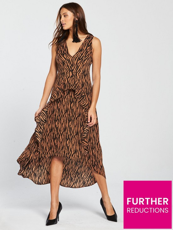 142c42dd457b AX Paris Zebra Printed Frill Dress - Camel | very.co.uk