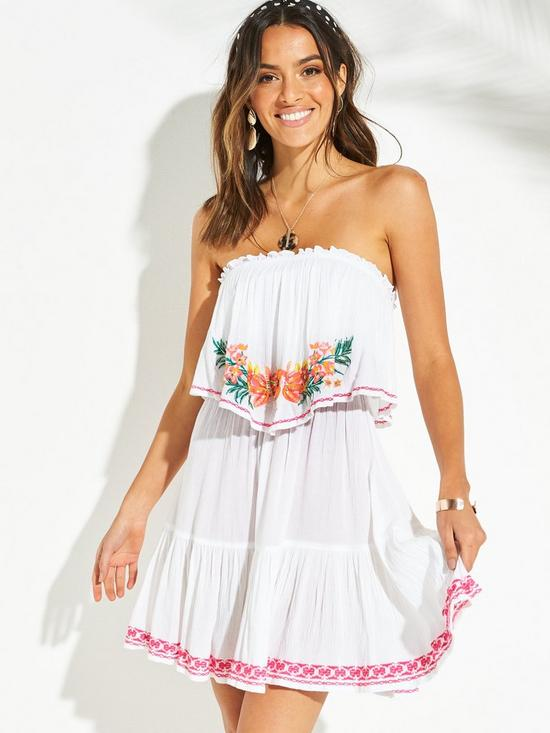 a8979d5d4f86 V by Very Bardot Frill Embroidered Beach Dress - Pink | very.co.uk