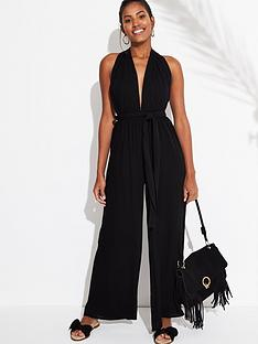 9b7acde9848 V by Very Multiway Wide Leg Jumpsuit – Black