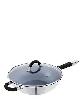 tower-stainless-steel-non-stick-28-cm-wok-with-vented-glass-lid