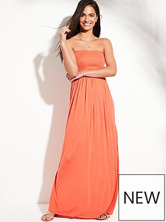 7a1284e1b3e V by Very Jersey Shirred Bandeau Beach Maxi Dress