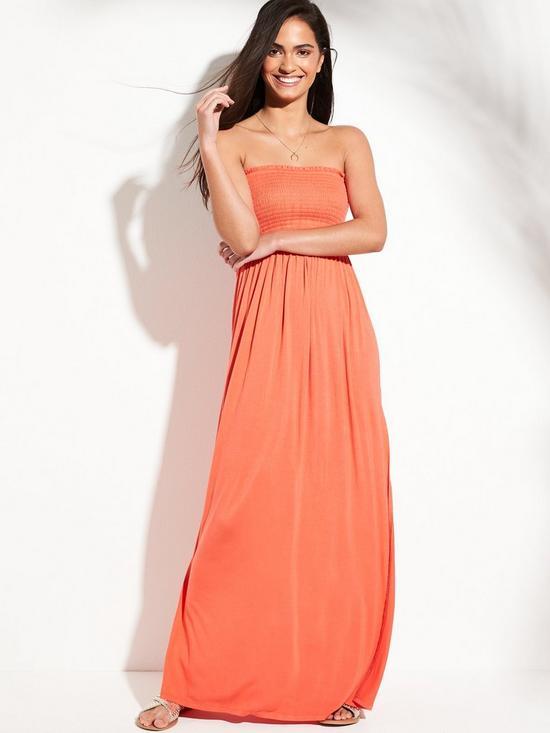 5cb3dac2866 V by Very Jersey Shirred Bandeau Beach Maxi Dress