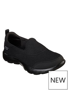 912ed7b975fad Skechers Go Walk Evolution Ultra Reach Mesh Plimsoll Shoes - Black