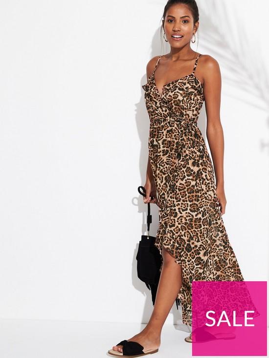 6bd712c9f1 V by Very Chiffon Ruffle Wrap Beach Maxi Dress - Leopard | very.co.uk