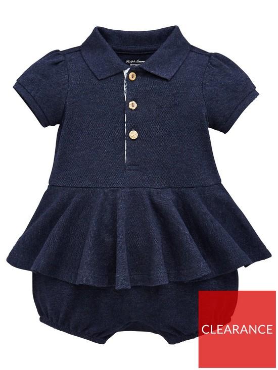 13c2904a245f Ralph Lauren Baby Girls Short Sleeve Polo Romper - Blue