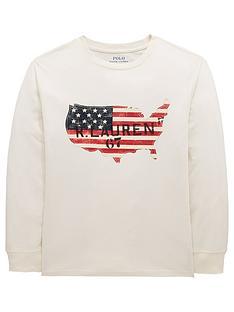 30b26205f Ralph Lauren Boys Long Sleeve Flag Print T-Shirt - Cream