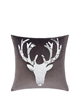 catherine-lansfield-sequin-stag-cushion