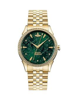 vivienne-westwood-the-wallace-emerald-lace-gold-detail-and-crystal-embellished-dial-gold-stainless-steel-bracelet-ladies-watch