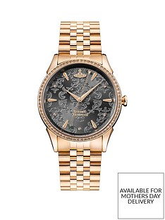 vivienne-westwood-the-wallace-charcoal-grey-lace-rose-gold-detail-and-crystal-embellished-dial-rose-gold-stainless-steel-bracelet-ladies-watch