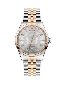vivienne-westwood-the-wallace-silver-lace-rose-gold-detail-and-crystal-embellished-dial-two-tone-stainless-steel-bracelet-ladies-watch