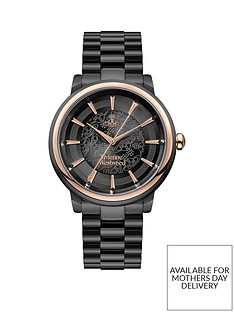 vivienne-westwood-vivienne-westwood-shoreditch-black-lace-and-rose-gold-detail-dial-black-stainless-steel-bracelet-mens-watch