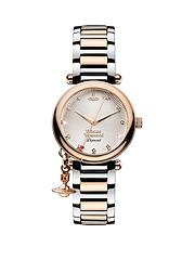 6e6f522ffe Vivienne Westwood Orb Diamond Rose Gold Textured and Diamond Set Dial with  Charm Two Tone Stainless Steel Bracelet Ladies Watch