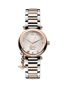 vivienne-westwood-orb-diamond-rose-gold-textured-and-diamond-set-dial-with-charm-two-tone-stainless-steel-bracelet-ladies-watch
