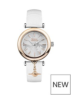 vivienne-westwood-trafalgar-textured-silver-and-rose-gold-detail-dial-with-charm-white-leather-strap-ladies-watch