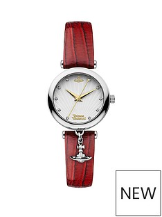 vivienne-westwood-trafalgar-silver-with-gold-detail-and-crystal-embellished-dial-with-charm-red-leather-strap-ladies-watch