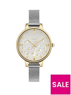 ted-baker-ted-baker-silver-and-gold-detail-daisy-dial-stainless-steel-mesh-strap-ladies-watch