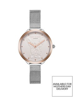 ted-baker-ted-baker-silver-and-rose-gold-french-bulldog-dial-stainless-steel-mesh-strap-ladies-watch