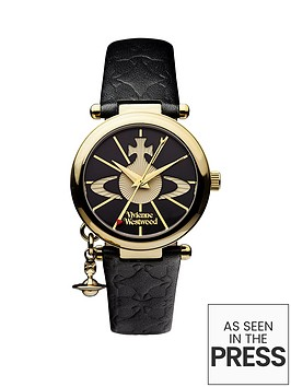 vivienne-westwood-vivienne-westwood-orb-ii-black-and-gold-logo-dial-gold-plated-case-and-charm-black-leather-strap-ladies-watch