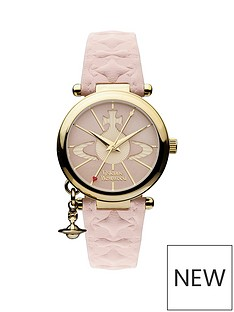vivienne-westwood-orb-ii-gold-logo-dial-gold-plated-case-and-charm-pink-leather-strap-ladies-watch
