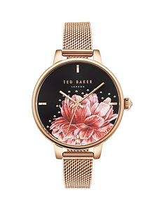 ted-baker-ted-baker-black-and-painted-pink-floral-dial-rose-gold-stainless-steel-mesh-strap-ladies-watch