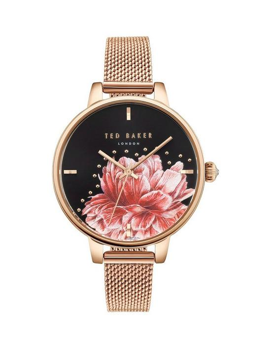 20220ac8af19 Ted Baker Ted Baker Black and Painted Pink Floral Dial Rose Gold Stainless Steel  Mesh Strap Ladies Watch